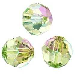 12x Swarovski Crystal Elements Round Faceted 5000 Peridot AB 4mm