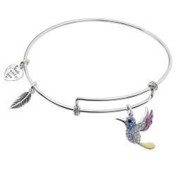 Rhodium on 925 Sterling Silver Hummingbird Enamel Dangle Charm Adjustable Wire Bangle Bracelet Made with Swarovski Crystals