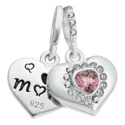 925 Sterling Silver Mom & Daughter Love Heart CZ Dangle Bead for European Charm Bracelets