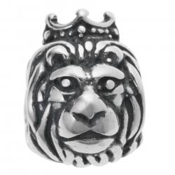Antique 925 Sterling Silver Lion King Crown Jungle Bead for European Charm Bracelets