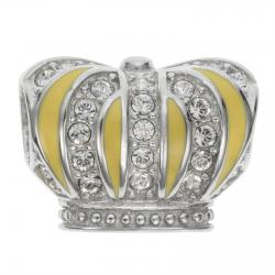 Rhodium on 925 Sterling Silver Yellow Enamel Royal King Crown Clear CZ Crystal Bead for European Charm Bracelets