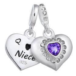 925 Sterling Silver Aunt & Niece Love Heart Purple CZ Dangle Bead for European Charm Bracelets