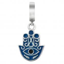 925 Sterling Silver Enamel Evil Eye Hamsa Hand of Fatima Protection Luck Dangle Bead for European Charm Bracelets