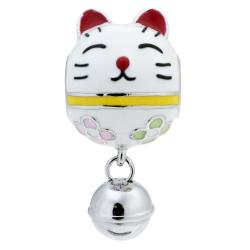 Rhodium on 925 Sterling Silver Fortune Lucky Cat Enamel Jingle Bell Dangle Bead for European Charm Bracelets
