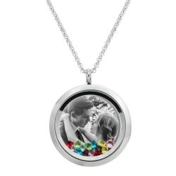 1x Stainless Steel Personalize Photo Message Engrave Round Floating Crystal Chain Necklace Pendant to My Best Mom Mother 30mm MIX
