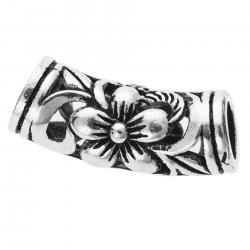 1x Antique Bali 925 Sterling Silver Blossoms Flower Leaf Curved Tube Spacer Bead