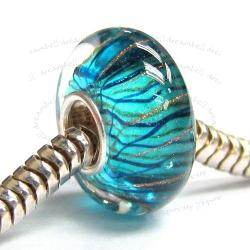 Sterling Silver Murano Flower Blue Glass Bead for European Charm Bracelets